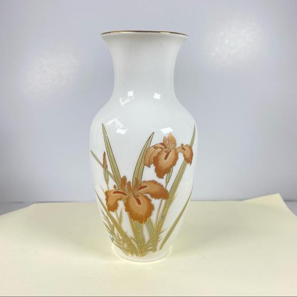 Vintage Flower Vase Iris Gold White Orange Fine China Japan MCM Decor Boho